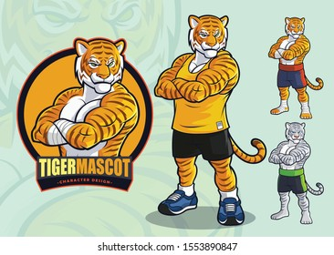 Tiger mascot for spots and martial arts logo and illustration with alternate appearances
