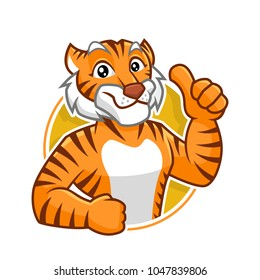 Tiger mascot vector in isolated white background, tiger character design, cartoon style