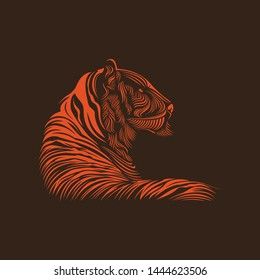 Tiger Modern Line Art Logo Vector Template