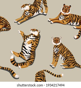 Tiger on beige, cream color background. Seamless vector pattern. Square design for fabric, wallpaper, wrapping paper, invitation card, scrapbook paper.