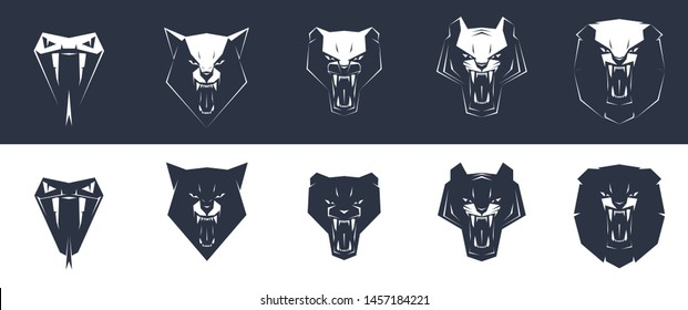 Tiger, panther, lion, wolf, snake, grin, mouth, teeth, logo, vector