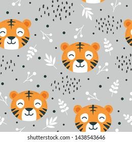tiger pattern seamless  background, vector illustration, animal cartoon pattern