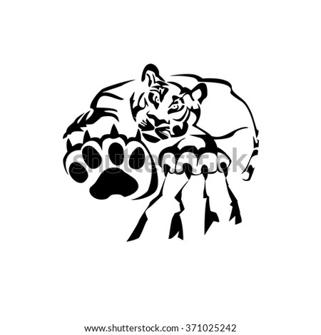 Tiger Paw Print Animal Footprint Isolated Stock Vector Royalty Free
