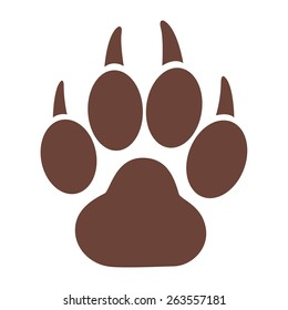 Tiger paw print isolated on white background. Tiger paw print vector illustration.