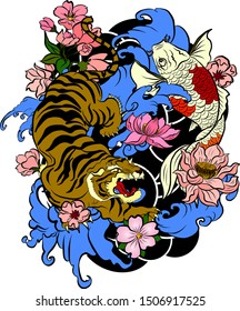 Tiger with peach blossom and cloud tattoo.Japanese tattoo with water splash and black cloud.koi fish carp and tiger illustration for T-shirt background.