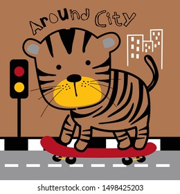 tiger playing skateboard in the city funny animal cartoon,vector illustration