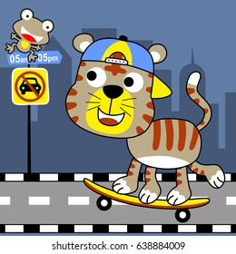 a tiger playing skateboard in the city road at car free day, vector cartoon illustration