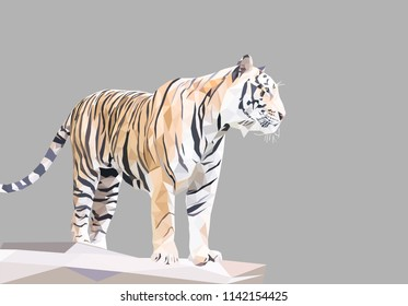 Tiger polygon, animal hunting world wild, geometric and triangle, low poly modelling, vector art and illustration.