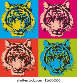tiger pop art illustration