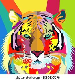Tiger Pop Art Portrait Vector