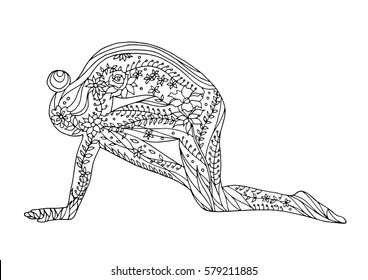tiger pose yoga 7 chakra vector flower floral drawing hand drawn zentangle illustration design, Vyaghrasana