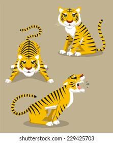 Tiger Roaring Hunting Observing, vector illustration cartoon.