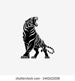 Tiger roaring logo sign emblem pictogram icon on white background vector illustration