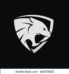 tiger / saber vector design within a shield in vector format.