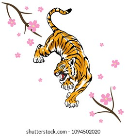 Tiger and sakura flowers illustration, Vector design