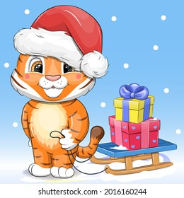 Tiger in a Santa hat with a sleigh. Cute cartoon winter vector illustration on blue background.