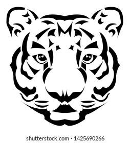 Tiger is in shadow art, Tattoo, Scroll saw or Intarsia pattern