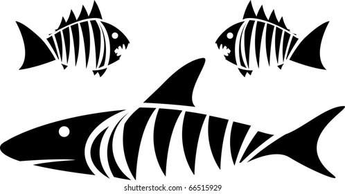 Tiger shark and piranhas. stencil. vector illustration