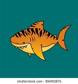 Tiger shark.Isolated cartoon character