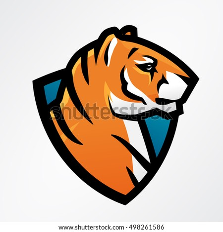 Tiger Shield Sport Mascot Template Football Stock Vector (Royalty ...