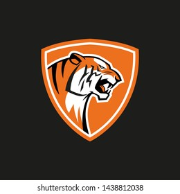 tiger shield sport vector emblem logo sign on black background