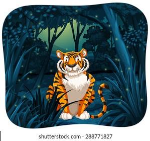 Tiger sitting with flireflies around