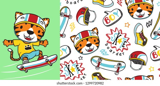 tiger the skateboarder with skateboard element seamless pattern vector
