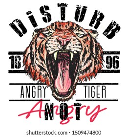 tiger snarls face vector art drawing print for clothes style wild big cat head retro vintage drawing graphic design