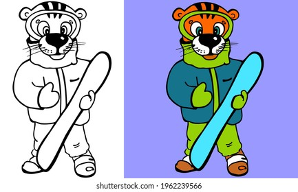 Tiger with snow board cartoon with and without color. Coloring page for kids book. Cute illustration for winter sports poster, winter resort logo