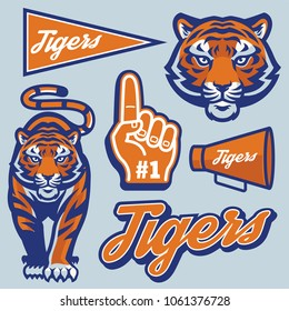 tiger in sport mascot style set