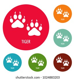 Tiger step icons circle set vector isolated on white background