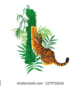 Tiger stretching hic body, yawning and sharpening his claws on a tree surrounded by exotic leaves. Vector illustration isolated on white background