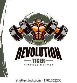 Tiger with strong body, fitness club or gym logo. Design element for company logo, label, emblem, apparel or other merchandise. Scalable and editable Vector illustration.