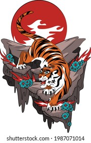 Tiger in the style of the Japanese Yakuza tattoo. Descending tiger on a rock against the background of a red sun