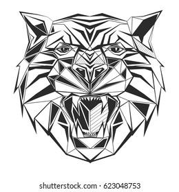 Tiger stylized triangle polygonal model