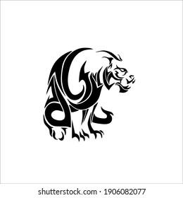 Tiger Symbol Logo. Tattoo Design. Vector Illustration.