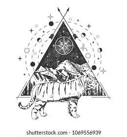 Tiger tattoo art style. Vector geometric tattoo sketch. Vintage hand drawn tiger, mountains, forest, compass star, crossed arrows.