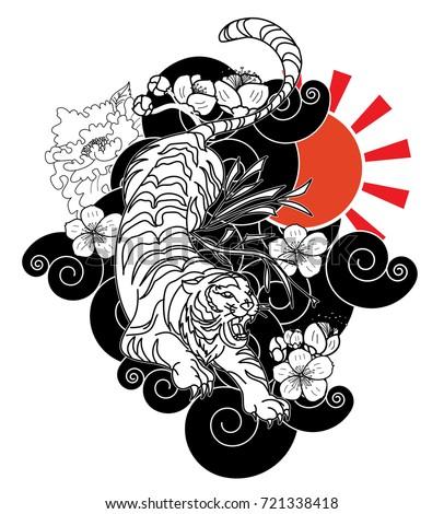 Tiger Tattoo Cherry Blossom Peony Flower Stock Vector Royalty Free