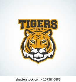 Tiger Team Abstract Vector Sign, Emblem or Logo Template. Classic Sport Mascot Label. Predator Animal Face with Typography. Isolated.