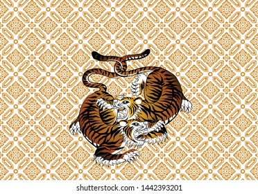588ebd00d tiger in Thai tradition style,Thai tattoo, vector - Shutterstock ID  1442393201