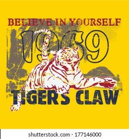 Tiger themed t shirt printing design.