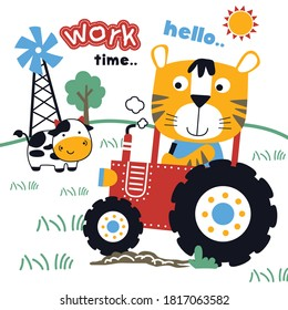 tiger and tractor in the farm,funny animal cartoon,vector illustration