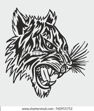 Tiger Tribal Tattoo Graphic Design Vector Vector De Stock Libre De