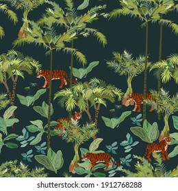 Tiger and tropical jungle vector seamless pattern. Design for fabric, wallpaper, wrapping paper, invitation card. Square dark green, black color background.