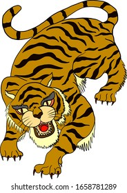 Tiger vector with cartoon design for sticker on white background.Tiger illustration for tattoo and printing on isolated background.