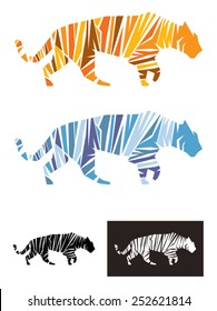 Tiger vector illustration template, An illustration representing a tiger formed by shapes define the figure by the stripes. Available as a normal tiger and snow tiger, also in black and white.