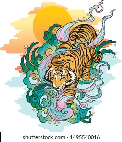 tiger walk in the sea with spread water and sunset background Artwork vector design with illustration Japaneses tattoo paint  concept for print or make pattern