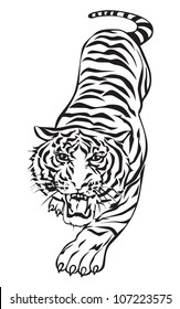 Tiger walking, graphic vector black and white.