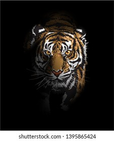 tiger walking in the shadow illustration