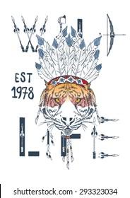 tiger in war bonnet, hand drawn animal illustration for apparel